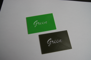 This photo shows the difference between the 2 Greens available on the Stratasys 1200sst.